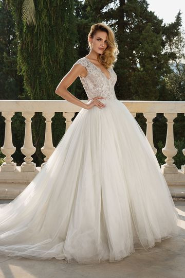 Justin Alexander Style 88082 Crepe Alençon Lace Cape Sleeve Ball Gown