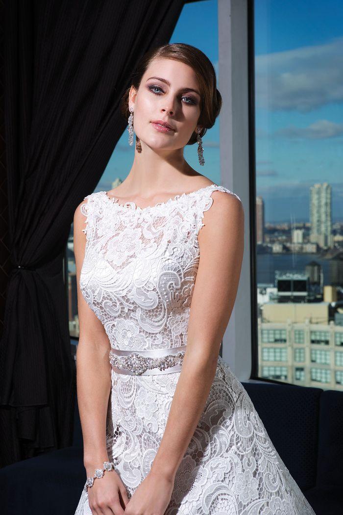 Justin Alexander Signature Style 9736 Satin A-line dress featuring a Sabrina neckline