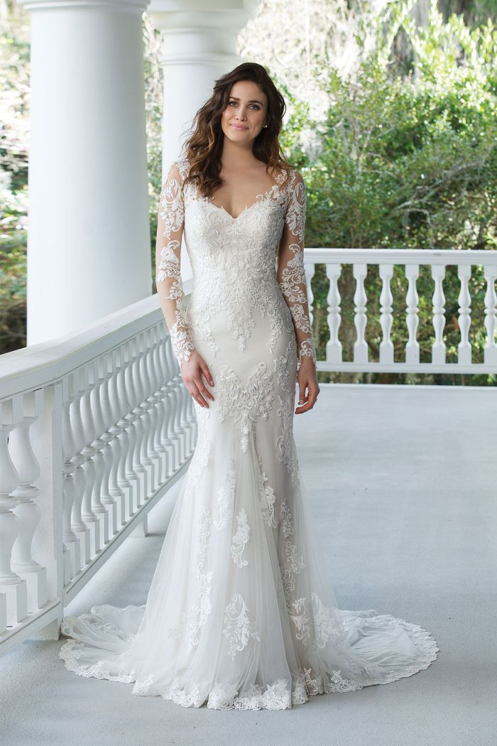 Sincerity Bridal Style 3936 Fit and Flare Gown with Lace Illusion Sleeves and Back