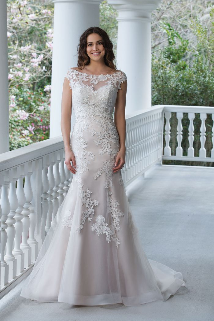 Sincerity Bridal Style 3942 Tulle and Satin Fit and Flare Gown with Lace Appliqués