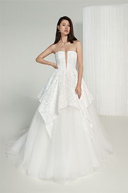 Justin Alexander Signature Style 99218 Phoebe Strapless Ball Gown with Allover Lace and Tulle Apron Skirt