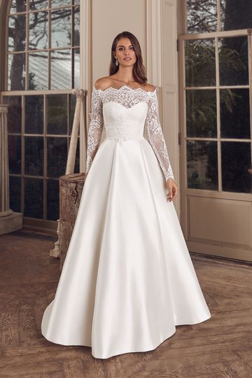 Justin Alexander Style 88144 Adela Clean Mikado Ball Gown with Pockets and Allover Lace Jacket