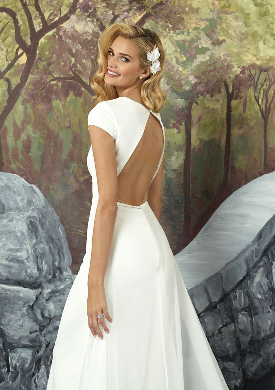 Justin Alexander Crepe Straight Gown with Detachable Chiffon Train