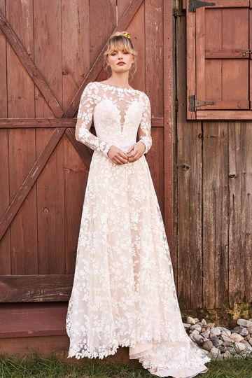 Lillian West Style 66188 Cotton Lace Dress with Open Back and Detachable Long Sleeves
