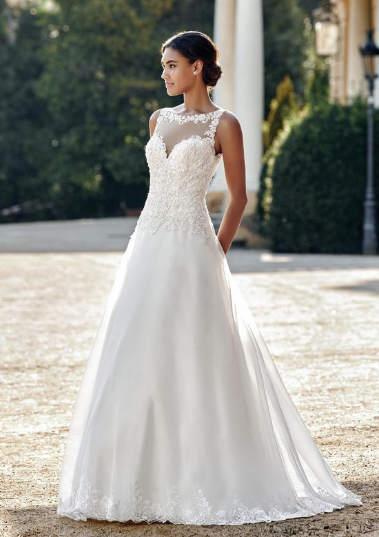 Sincerity Bridal Style 44116 Illusion Sabrina Organza A-Line Gown with Lace Appliques