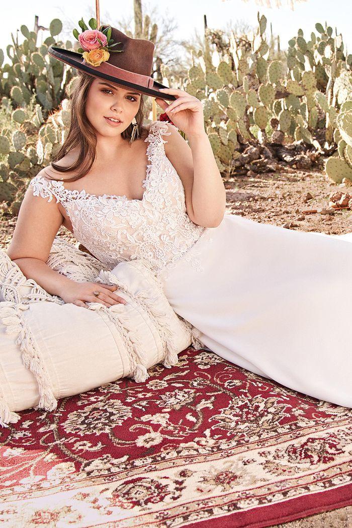 Lillian West Style 66097LND Lace illusion bodice Aline Gown