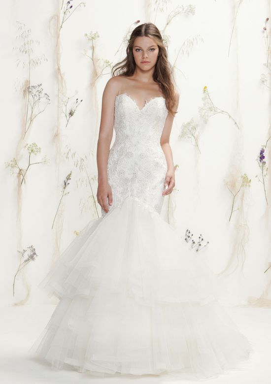 Lillian West Style 6416 Beaded Lace Sweetheart Gown with Mermaid Tulle Skirt