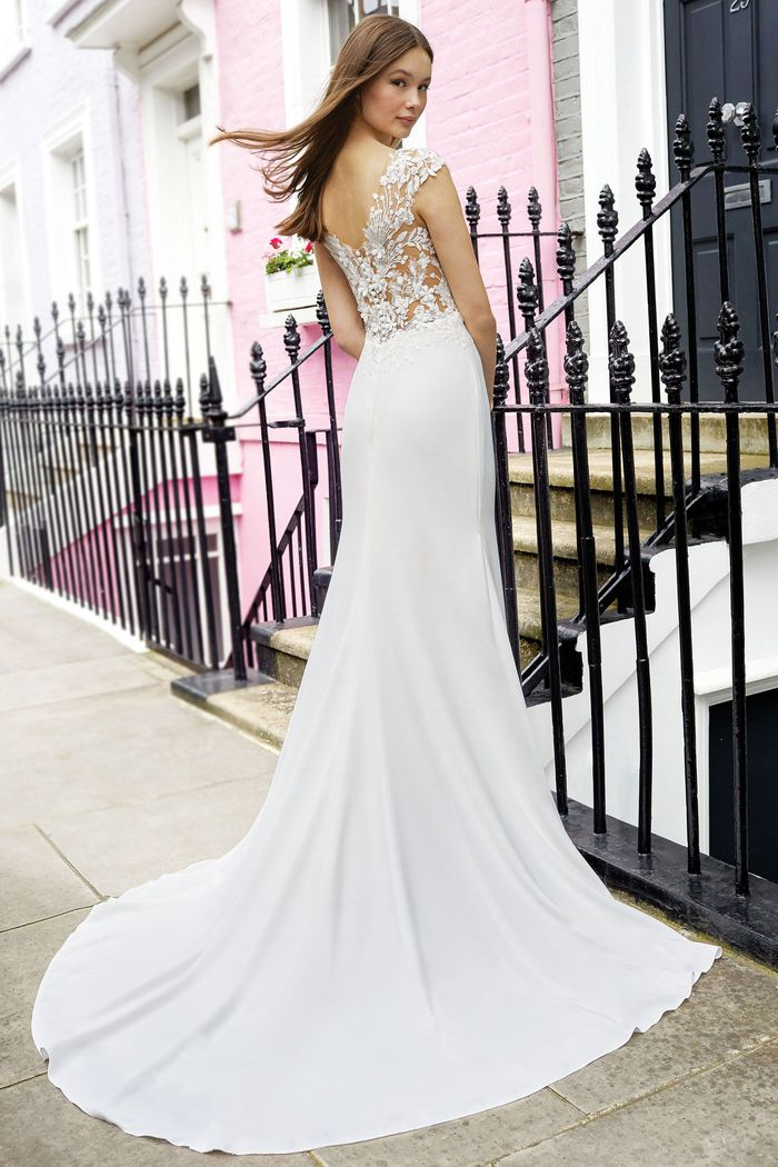 Adore by Justin Alexander Style 11113 Sabrina Neckline Crepe Fit and Flare Gown with Lace Cap Sleeves