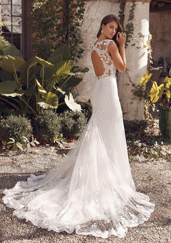 Justin Alexander Style 88141 Arielle Lace Fit and Flare Gown with Metallic Threading and Keyhole Back