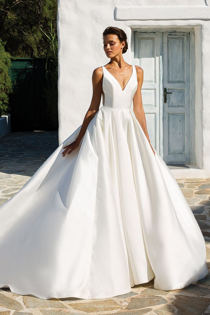 Justin Alexander Style 8937 Mikado Box Pleat Ball Gown with Beaded Illusion Square Cut Back