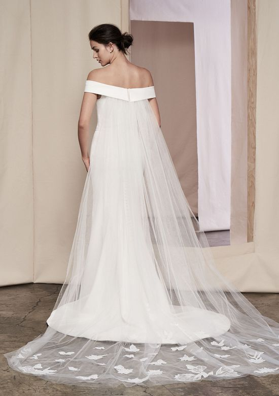 Justin Alexander Signature Style 99107 Laurel Clean Off the Shoulder Gown with Floral Train