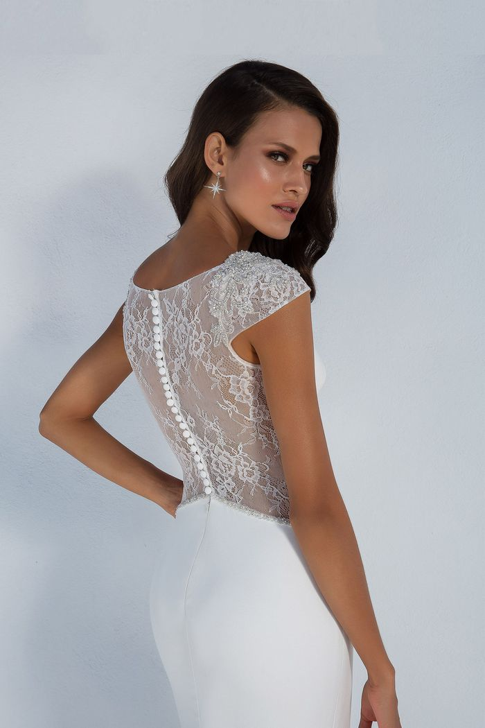 Justin Alexander Style 88002 Crepe Fit and Flare Gown with Illusion Lace Back