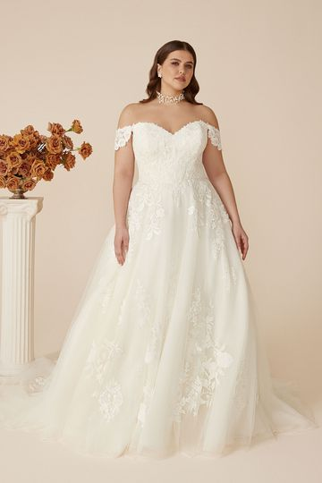 Justin Alexander Style 88122PS Off-the-Shoulder Plus Size Ball Gown with Venice Lace