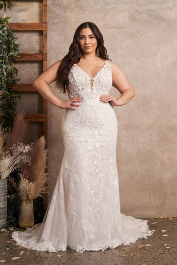 Lillian West Style 66183PS Beaded Lace Plus Size Fit and Flare Gown with Side Cutouts