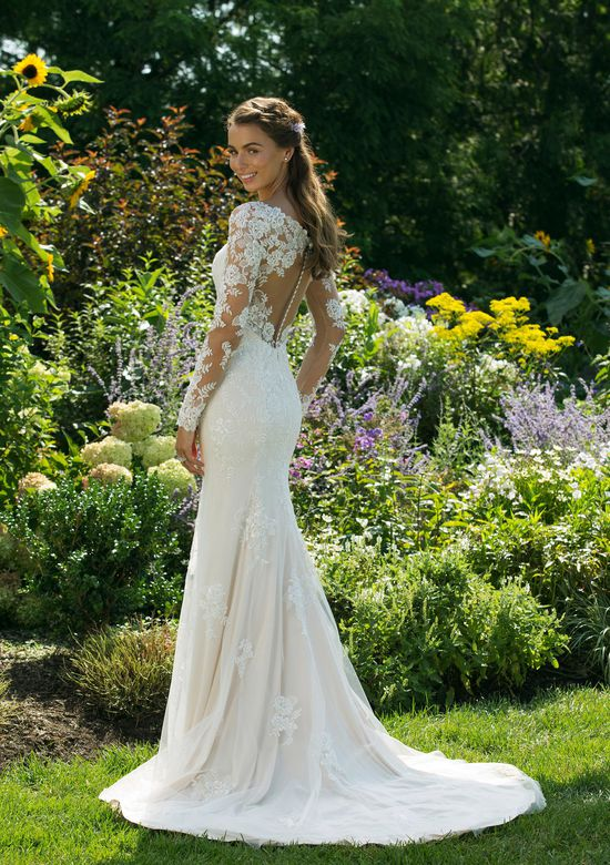 Sweetheart Gowns Style 11035 Illusion Long Sleeve Fit and Flare with V-neckline