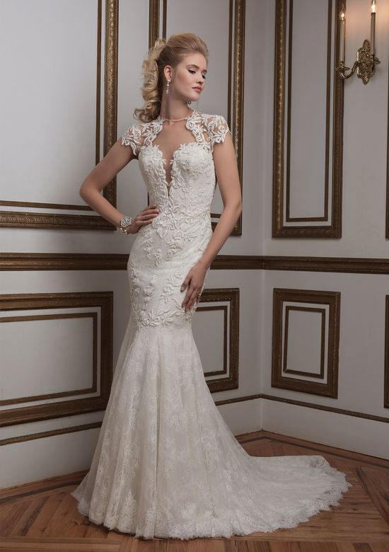 Justin Alexander Style 8796 Plunging Jewel Neck Venice Lace Bridal Gown