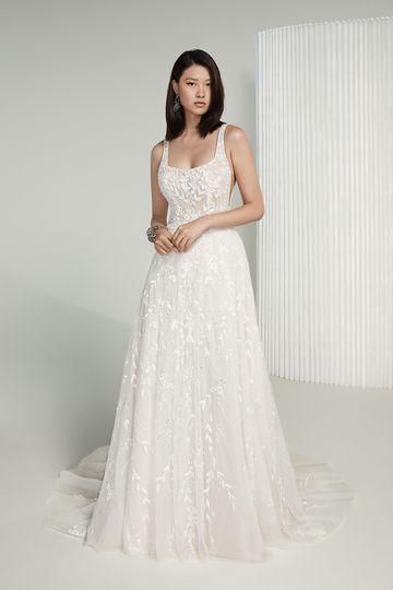 Justin Alexander Signature Style 99221 Golda Square Neck A-Line Wedding Gown with Allover Beaded Embroidery