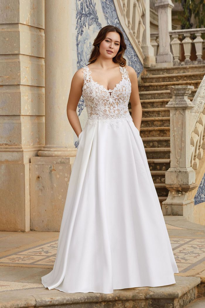 Sincerity Bridal Style 44170PS Illusion Bodice with Exposed Boning Mikado Plus Size Gown