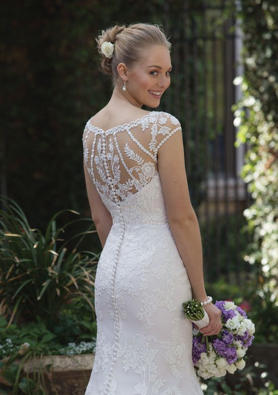 Sincerity Bridal Style 4018 Allover Lace Fit and Flare Dress with Sabrina Neckline