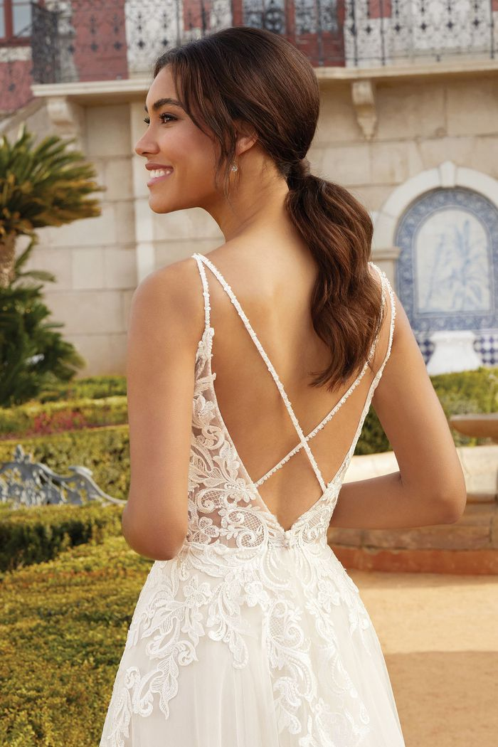 Sincerity Bridal Style 44249 Illusion Bodice A-Line Gown with Crisscross Back