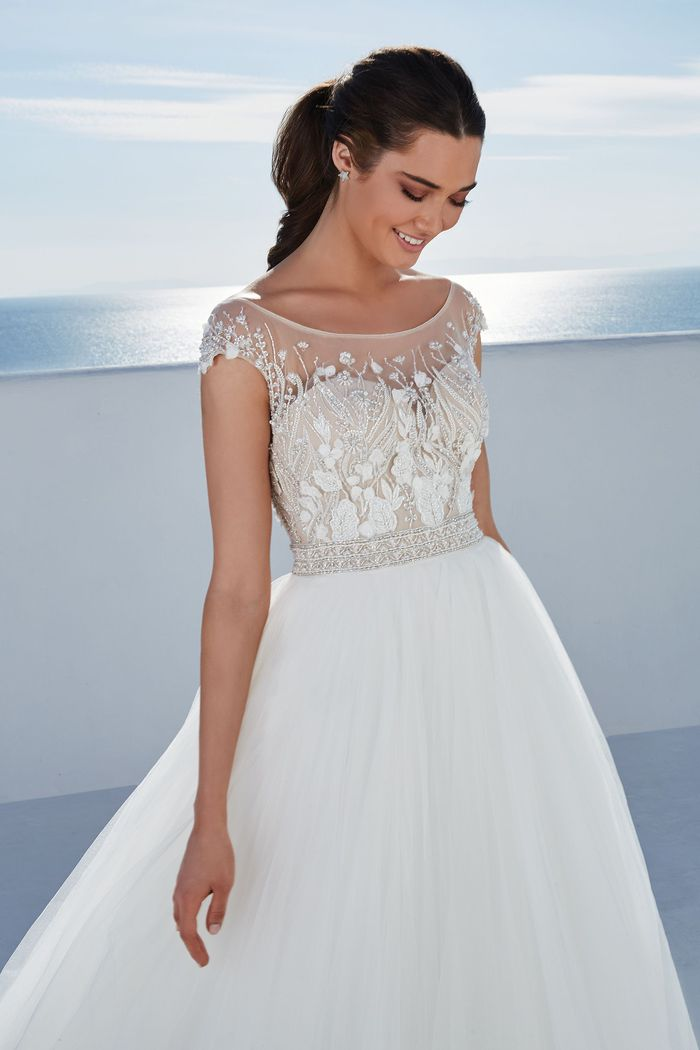 Justin Alexander Style 88175 Baldwin Tulle Ball Gown Embellished with Beading and 3D Chiffon Flowers