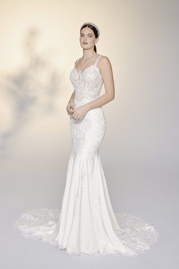 Justin Alexander Signature Style 99205 Tamara Low Back Fit and Flare Gown with Illusion Train