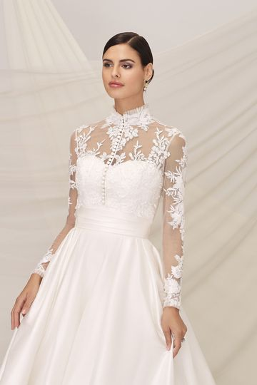 Justin Alexander Signature Style 99139J ISLINGTON Ruffled Mandarin Collar Jacket with Satin Laser Cut Appliques