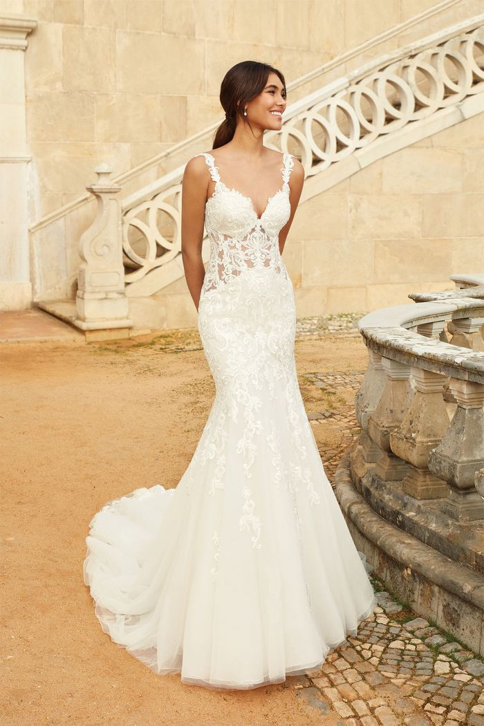 Sincerity Bridal Style 44243 Illusion Bodice Mermaid Gown with Detachable Straps