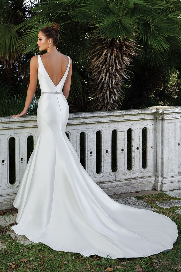 Justin Alexander Style 88107 Clean V-Neck Fit and Flare Gown with Detachable Belt