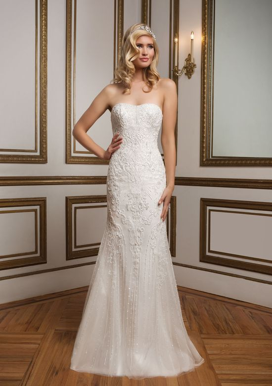 Justin Alexander Style 8826 Beaded; Tulle Fit and flare embellished with a Strapless neckline