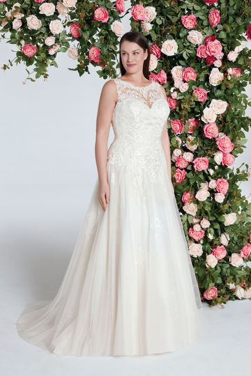 Sweetheart Gowns Style 11038 Tulle A-line Gown with Subtle Lace Detailed Skirt