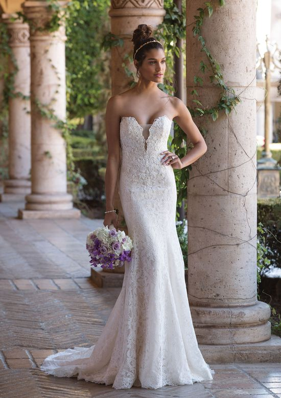 Sincerity Bridal Plunging V-Neck Venice Lace Fit and Flare