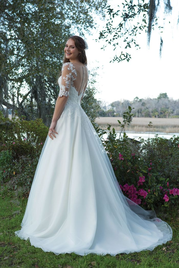 Sweetheart Gowns Style 6191 Organza and Satin A-line Gown with Illusion Sleeves and Lace Appliques