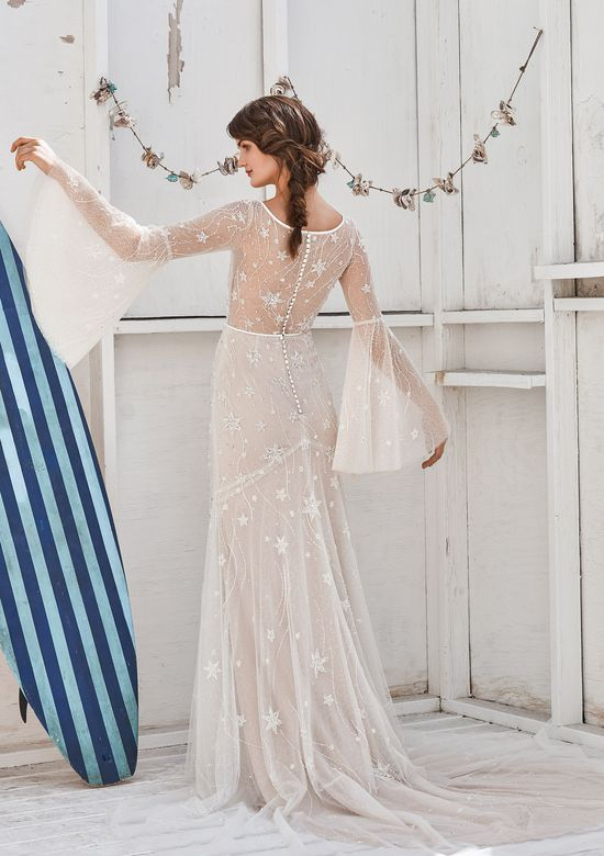 Lillian West Style 66057 Shooting Star Beaded Bell Sleeve Dress