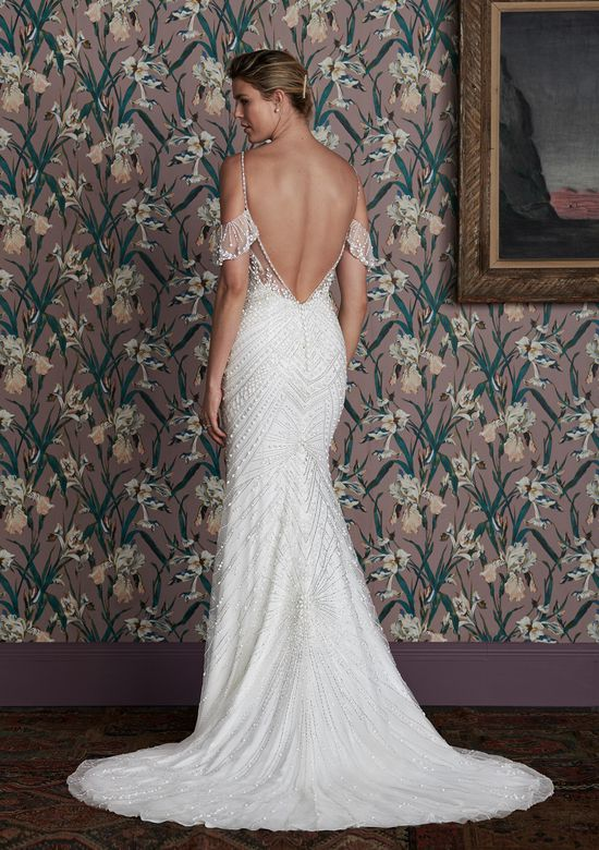 Justin Alexander Signature Style 99153 BILLIE Art Deco Beaded Fit and Flare with Detachable Flutter Sleeves