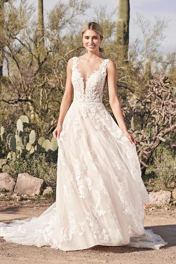 Lillian West Style 66163 A-Line Gown with Plunging Illusion Sabrina Neckline and Low Back
