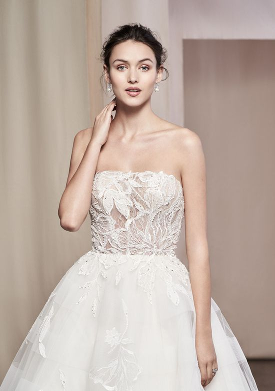 Justin Alexander Signature Style 99108 Senna Strapless Sequin Flower Lace Gown with Skirt Detail