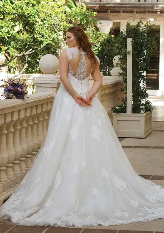 Sincerity Bridal Style 44042 Allover Lace Illusion Gown with Detachable Train