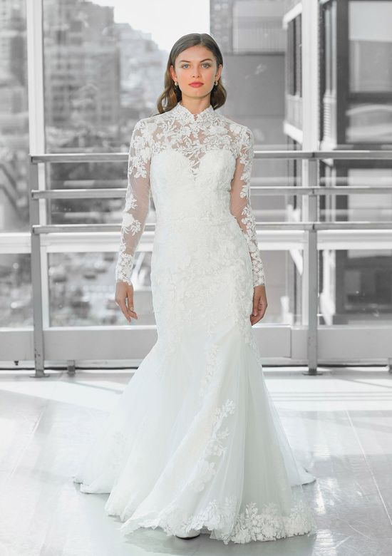 Justin Alexander Signature Style 99119 BARCELONA Plunging Sweetheart Fit and Flare Gown with Lace Mandarin Jacket