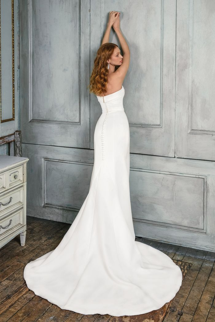 Justin Alexander Signature Style 99021 Satin Fit and Flare Gown with Folded Neckline