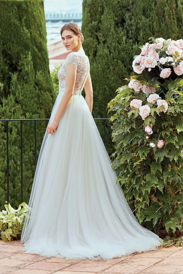 Sincerity Bridal Style 44207 Cotton Lace Illusion Bodice Gown with English Net Skirt