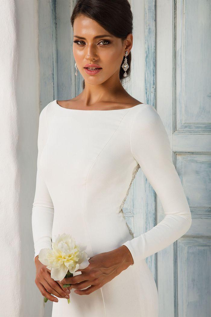 Justin Alexander Style 8936 Crepe Long Sleeve Wedding Dress with Beaded Illusion Back