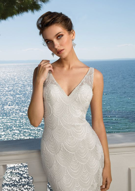 Justin Alexander 88057SD Beaded Chandelier Lace V-Neck Gown