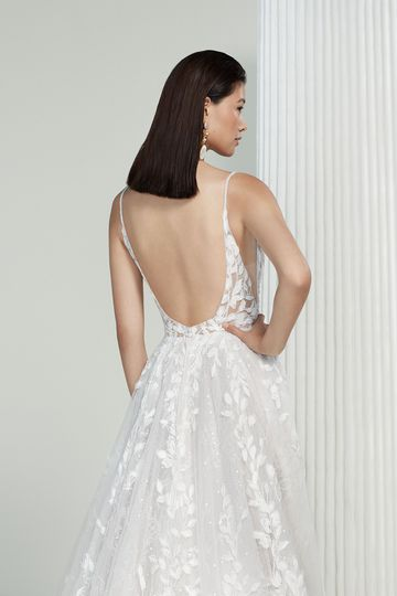 Justin Alexander Signature Style 99211 Gloria Sequined A-Line Wedding Gown with Spaghetti Straps and Scoop Back