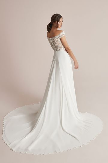 Justin Alexander Style 88210 Colima Chiffon Skirt A-Line Dress with Beaded Off the Shoulder Neckline