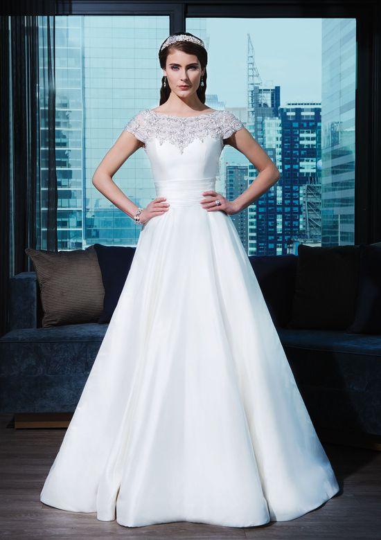 Justin Alexander Signature Style 9770 Silk dupion ball gown adorned by a Sabrina neckline
