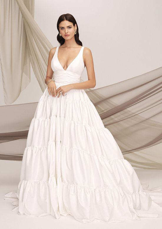 Justin Alexander Signature Style 99138 ROMA Tiered Taffeta V-Neck Ball Gown with Cummerbund and Back Bow