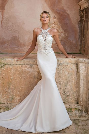 Justin Alexander style 88043 Beaded Illusion Lace Jewel Neck Gown