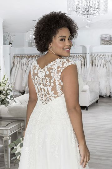 Sincerity Bridal Style 44203PS Beaded Plus Size A-Line Dress with Sabrina Neckline and Dropped Waist