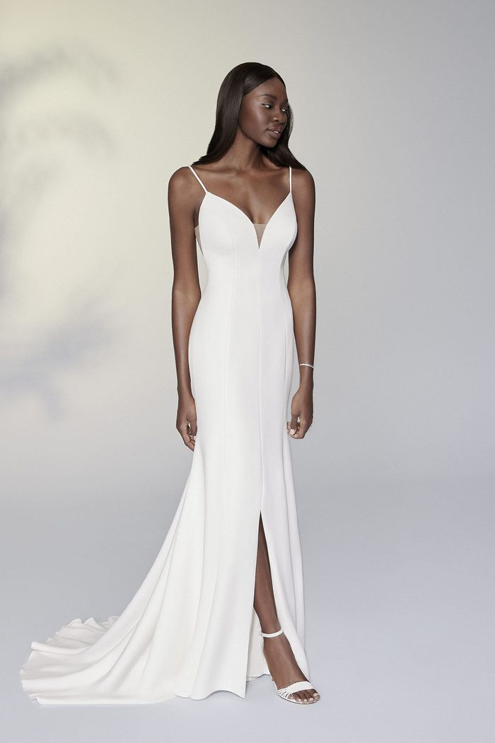 Justin Alexander Signature Style 99196 Nadia Clean Fit and Flare Dress with Bikini Neckline and Slit